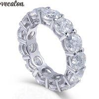Vecalon 925 Sterling Silver Eternity Ring 6mm 5a Zircon Sona CZ Compromiso Anillos de banda de boda para mujeres Joyas de dedo nupcial D18111405