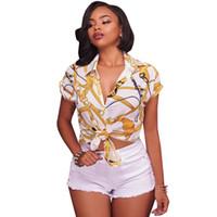2017 Mujeres Camisas elegantes de manga corta Tops Botón casual Blusa con estampado de cadena vintage Cuello vuelto Blusas blancas negras Camisas