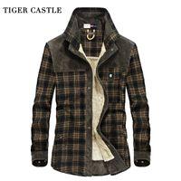 Оптовая продажа-TIGER CASTLE мужская флисовая Зимняя рубашка 100% хлопок теплый мужской плед с длинным рукавом армия мужская рубашка блузки