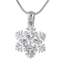 Ciondolo esagono fiocco di neve ostrica gabbia di perle regalo di Natale regalo placcato argento fortunato gioielli di moda europea per le donne P127