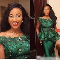 Estilo nigeriano encaje 2018 vestidos de noche formales fiesta de fiesta 3d flora apliques con cuentas cazador verde sirena especial ocasión vestidos de fiesta