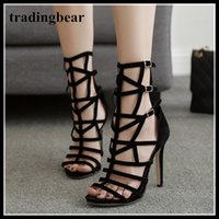 Rome style high heels gladiator sandal for women designer sh...