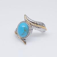 الرجعية ريشة الفيروز الدائري الأزرق الماس خواتم الفرقة الأزياء والمجوهرات للنساء هدية عيد 080351