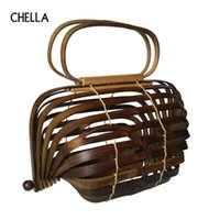 2018 Bamboo Basket Bamboo Bag Mujeres Large Straw Bag Verano Hollow Out Tote Luxury Designer plegable dos colores
