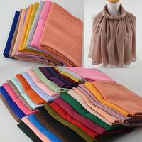 """Женский высококачественный шарф из пузырькового шифона, мусульманский хиджаб, однотонные платки быстрого приготовления, пляжный мусульманский шарф в хиджабе """"Фуляр"""" в 30 цветах S18101904"""