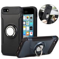 Coque d'armure hybride double couche avec anneau Kickstand magnétique sur support voiture pour iPhone XR Masque 8 7 6 6S Plus Galaxy S8 S9 Plus S10 Note 9 8