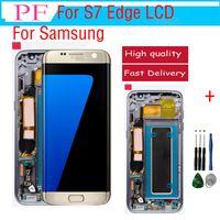 Original lcd für samsung s7 edge lcd touchscreen + rahmen digitizer display assembly ersatzteile für g935a g935f g935p dhl free