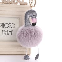Fashion Cartoon Flamingo Keychain Pompom Fluffy Plush Keycha...