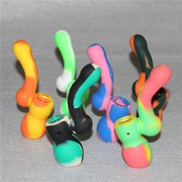 """4.72 """"Inch Silicone Bubbler Pipe Hand Pipe Glass Food Food Silicone Smoking Pipe Pocket Pipe Multi Purpose Oil Burner Pipe Hookah Pipe"""