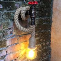 Antique Led Appliques Murales Corde Couloir Chambre Maison Bar Industrail Vintage Mur Lampe Fer Luminaires