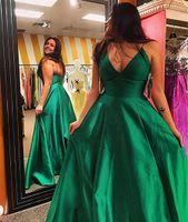 Спагетти ремни онлайн V-образным вырезом длиной до пола атласное вечернее платье без рукавов с оборками платья выпускного вечера простой длинные вечерние платья