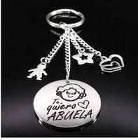 Nova avó cor prata chaveiro de aço inoxidável para as mulheres rodada chaveiro jóias avó presente abuela llavero k73216