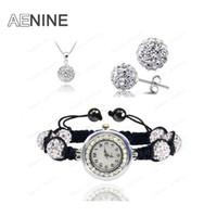 Uhrensätze Halskette + Armband + Ohrringe Kristallschmuck Uhrensätze 10mm Micro Pave Disco Beads Kristallschmuck Sets SHSE11