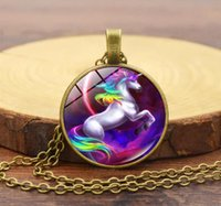 2018 Pegasus unicorn necklace Time gem glass Sweater chain N...