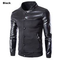 Leisure Cool Design Leather Stand Collar Men' s Jacket Co...