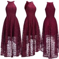 Sexy Halter дешевые бордовые кружевные вечерние платья Halter без рукавов высокий низкий дизайнер официальный случай носить рождественское платье Party CPS1151