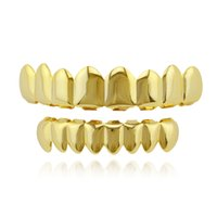 Hiphop Dents Grillz Or Rose Or Argent Plain Grills Set TopBottom Dent Grzz Dentaire Caps Caps Partie Corps Bijoux Cadeau De Noël