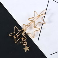 Fashionable New Style Hairpin Copper Hollow Pentagram Hair C...