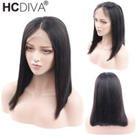 13x3 Short Bob Lace Front Wigs Indian Virgin Human Hair Stra...