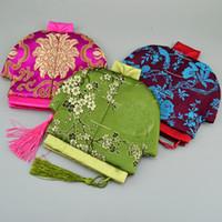 estilo chinês Tassel pequeno Zip Purse Partido Coin do Natal Bolsa favores Moda Craft Silk Brocade Jóias Bolsa presente sacos para embalagem 10pcs / lot