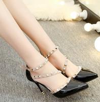 Mujer zapatos de tacón alto de las señoras sexy punta estrecha bombas hebilla remache mujeres Zapatos de punta estrecha bombas zapatos de vestir zapatos de tacón alto barco de la boda