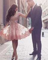 Disse Partido Curto Mhamad rosa Alças Lace curto Cocktail Dresses Applique A Linha Backless Knee Evening vestidos de comprimento Custom Made