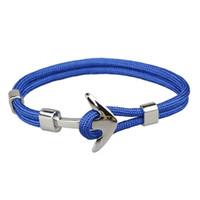 Лучшие продажи моды мужские и женские ручной работы серебряный якорный браслет красочный тканый паракорд браслет для продажи
