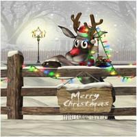Feliz Natal Foto Cenário Impresso Cerca De Madeira Dos Desenhos Animados Alce Luz Colorida Caindo Flocos De Neve de Neve Do Inverno Fundos Cênicos