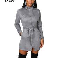 TAOVK Vestido con cremalleras en la parte delantera de la oficina Señora Stand Collar A-Line Hasta la rodilla Elegante Correa de cintura alta Vestidos de ante