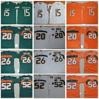 NCAA Miami Hurricanes 15 Jerseys Brad Kaaya Мужская футбол в колледже 20 Ed Reed 52 Рэй Льюис Джерси Оранжевый Зеленый Белый 26 Шон Тейлор