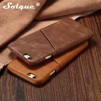 Custodia in vera pelle Soqlue per Iphone 6 6s Plus 6plus Cell Phone Luxury Leather Slim Card Hard Cover posteriore rigida Vintage