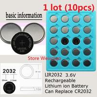 10 stücke 1 los LIR2032 3,6 V Lithium li ionen wiederaufladbare taste zelle batterie 2032 3,6 Volt li-ion münzbatterien ersetzen CR2032 Kostenloser Versand