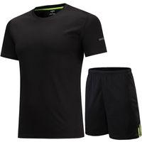 남자의 스포츠 실행 정장 빠른 건조 농구 축구 훈련 Tracksuits 저지 남성 여름 헬스 체육관 의류 통풍 T- 셔츠를 설정합니다.