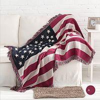 """Hot 50 """"X 70"""" Sazonal Americano Dupla Face De Algodão Tecido Sofá Tapeçaria Throw Blanket Caracterizando Borlas Decorativas EUA Bandeira A Antiga Glória"""