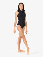 Icostumes Tank dance Leotard Adult Women Deep V-Back High Neck Ballet Class