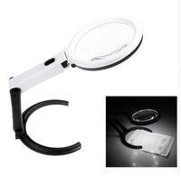 휴대용 10 LED 라이트 돋보기 라이트 렌즈 테이블 탁상 형 램프 핸드 헬드 접이식 루페 2 x 120mm 5x 28mm