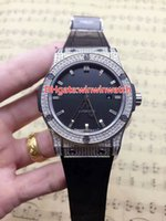 Diamonds silver case watch automatic men size 42mm black dia...