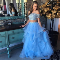 2019 Blue Two Piece Prom Dresses Off Shoulder Short Sleeves ...