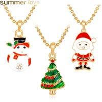 قلادة عيد الميلاد شجرة عيد الميلاد حجر الراين المينا قلادة للنساء الاطفال الأبيض ثلج سانتا كلوز سحر الذهب اللون هدية عيد الميلاد