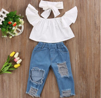Cute Baby Girls New Fashion Bambini Girls Abiti Off spalla Crop Top Bianco + Hole Denim Pant Jean + Fascia 3 pezzi / set