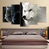 HD Imprimé 5 Pièce Toile Art Abstrait Noir Blanc Loup Couple Couple Peinture Mur Photos pour Salon Décoration de La Maison Cadeau
