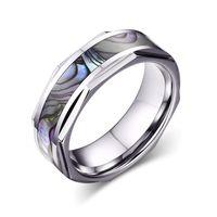 Moda męska Damska Biżuteria 8mm Pierścień Tungsten Faceted Krawędzie z Natural Abalone Shell Inlay Wedding Band, Size7-12