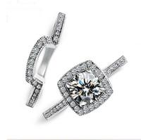 Drop Shipping Vecalon Handmade Luxury Jewelry 925 стерлингового серебра заполнены круглый вырезать Белый Топаз CZ Алмаз женщины свадебные кольца набор подарков