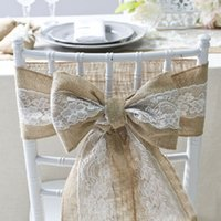 Chair Sashes Linen Lace Chair Sashes For Wedding Banquet Bri...