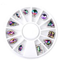 12 adet / kutu Senfoni AB Glitter Taç Droptear Alaşım Nail Art Dekorasyon Tekerlek 3d Charm Tırnak Rhinestone Takı Araçları