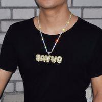 Neue heiße Verkäufer Custom Name Weiß Drip Blase Buchstaben Anhänger Halskette Männer Zircon Hip Hop Schmuck mit 4MM Tennis 20inch Kette 2 Farben