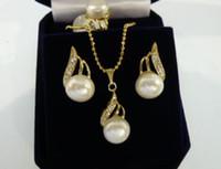 무료 배송 도매 여자의 고귀한 18kgp 화이트 쉘 진주 아름다운 디자인 귀걸이 펜던트 목걸이 반지 (# 7.8.9) 보석 세트
