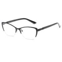 Yarım Çerçeve Okuma Gözlükleri Kadınlar Metal Optik Ayna Gözlük Anti-Yorgunluk Hipermetrop kadın Kedi Göz HD Reçine Lens Presbiyopik Okuma ...