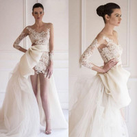 Stunning Maison Yeya Beach Wedding Dresses Sheer Bateau Illu...