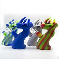 Silicone Dragon Bubbler Shape Bong With Glass Water Pipe FDA...